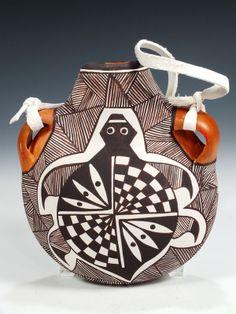 Acoma Pueblo Hand Coiled Pottery Canteen