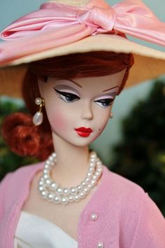 A vintage Barbie in matching pinks