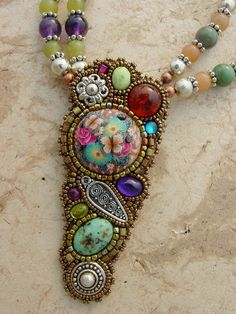Gemstones and Flowers Necklace by freespiritheidi on Etsy