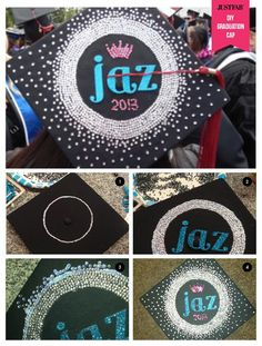 Glisten up your grad cap! Are you graduating or know someone who is? Share this personalized grad cap DIY with them: http://blog.justfab.com/2013/06/diy-decorate-your-graduation-cap/