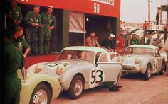 Factory Team 1959 line up in front of their pit boxes during practice.