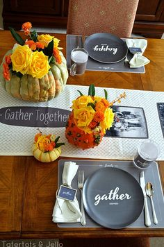 Ideas to make a Photo Table Runner and Thanksgiving Table Decor.