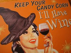 Vintage Halloween Decorations | Vintage Style Retro Halloween Witch Decor Sign Keep Your Candy I'LL ...