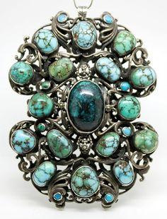 Antique 1860's Austro-Hungarian Silver Turquoise Pendant