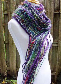 Hand Spun Wool Knit Scarf Fringe Accents Multicolored by Fanchi, $35.00