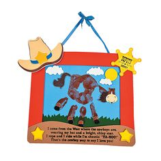 "Ranch Handprint Keepsake    ""I come from the West where the cowboys are, wearing my hat and a bright, shiny star. I rope and I ride while I'm shoutin' ""YA-HOO!"" That's the cowboy way to say I love you!"""