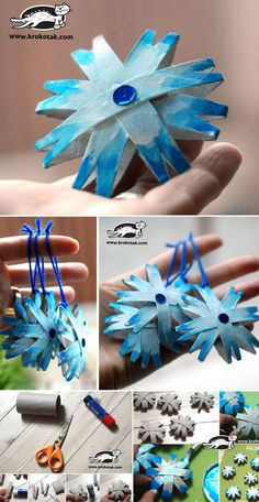 no web page, but you can kind of follow the idea.  Ornaments, made from toilet paper rolls - cute! #kids #craft #recycle