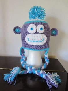 MONKEY HAT in purple and aqua. For ages 6  by Bluetulipgifts, $14.99
