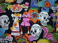 FQ LOS NOVIOS BRIGHT MEXICAN PARTYING WEDDING SKELETON FLOWERS FABRIC SKULL | eBay