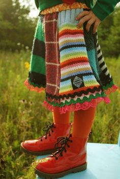 upcycled from sweaters on etsy.  too cute!
