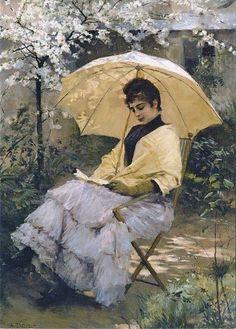 Albert Edelfelt (Finnish painter, 1854-1905) Woman and Parasol, 1886
