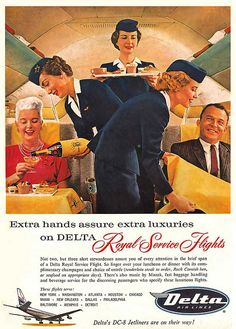 Remember, extra hands assure extra luxuries when you fly with Delta airlines. #1950s #fifties #ad #vintage #airline #travel #plane #hostess #stewardess #flight #attendant