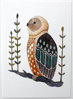 Owl Illustration Painting  Watercolor Art  Large by RiverLuna....very nice...