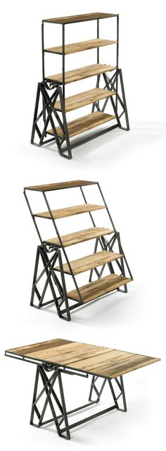 A display shelf that converts into a table and vice versa! Genius for impromptu dinner parties!   product design   furniture design