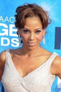 Holly Robinson Peetes wavy, updo hairstyle