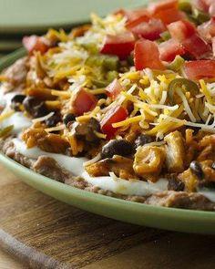 Seven Layer Chicken Enchilada Dip Football food :)