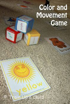 Indoor gross motor game that teaches or reinforces colors.  It could also be modified to teach other concepts like shapes, letters or numbers.  A simple and great way to stay active even when stuck indoors!