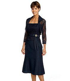 KM Collections Lace Bolero Jacket Dress #Dillards