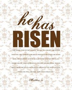 He has Risen printable.