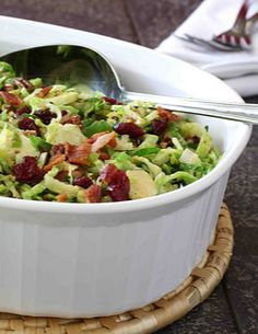 This recipes made me fall in love with Brussels Sprouts! Shredded Brussels Sprouts with Bacon, Cranberries & Pecans   cookincanuck.com