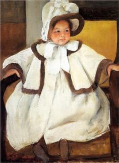 Ellen Mary Cassatt In A White Coat - Mary Cassatt