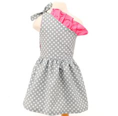 Gray Polka Dot Pink Dress