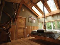 hanging bed decor, cabin, the loft, hang bed, hanging beds, sky light, dream homes, hous, bedroom