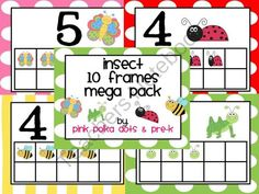 Insect Ten Frames Mega Pack ~ 8 Sets  Butterflies, Bumblebees, Ladybugs, and Grasshoppers  $5