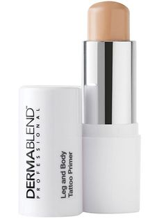 """""""Visible tats? Unless you're interviewing in an excessively creative field, cover those babies up. To do, first swipe on Dermablend Leg & Body Tattoo Primer—this enhances the wearability of your body foundation, and prevents unsightly smudging. Finish with an ink-erasing layer of Dermablend Leg and Body Cover."""" - @no way Claire"""