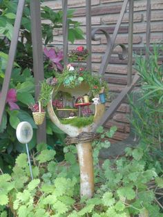 I want a fairy garden and I love the idea of gourds.