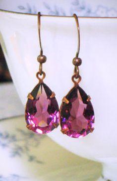 Amethyst Purple Rhinestone Drop Earrings Swarovski