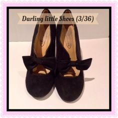 """Lovely Black Size 3 Shoes With 4""""Heel And Pretty Bow detail."""