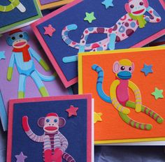 Sock Monkey Mini Cards or Gift Tags set of 4 by SandrasCardShop, $4.00