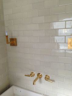 Tracery Interiors | White Subway Tile, Brass Fixtures
