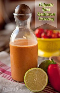 A spicy Chipotle Lime Southwest Dressing made with chipotle peppers in adobo, fresh lime juice, southwest spices and a bit of creaminess from Greek yogurt.