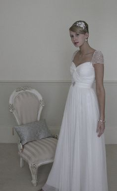 Couture bridal gown wedding dress  in pleated by SarahMorganBridal, £455.00