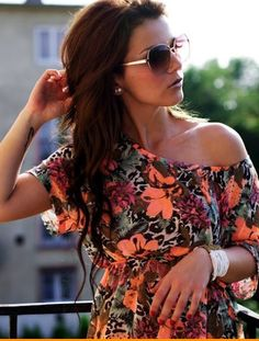prettyyy hair colors, summer looks, sunglass, outfit, the dress, print, summer tops, bright colors, shirt