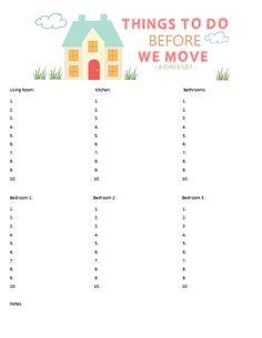 A FREE Printable Moving Checklist