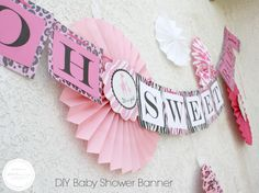 You'll love this DIY Baby Shower Banner for this Candy Buffet! 3d-memoirs.com #DIY #babyshower