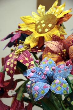 Fabric flowers. I think these are beautiful.
