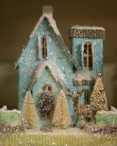 blue glitter house