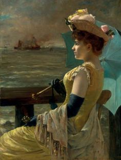 'Looking Out to Sea' (c. 1890) by Alfred Stevens (1823-1906). Oil on canvas.  98.6 x 73.2 cm (38.8 x 28.8 in). Signed 'A. Stevens' (left center). Location: Inventory, 2012, Heather James Fine Art, Palm Desert, California, U.S. // Bio notes on this artist: http://tinyurl.com/6gjal96 // Found by @RandomMagicTour     (http://tinyurl.com/7c3hqej) - Sasha Soren - Book trailer: http://tinyurl.com/yl26xwa