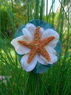 Starfish Floral Hair ClipSEA FOAMBeach by sandnsurfcreations, $14.95