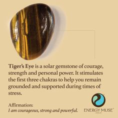 Tiger's Eye is a solar gemstone of courage, strength and personal power. It stimulates the first three chakras to help you remain grounded and supported during times of stress. #tigerseye #healing #crystals