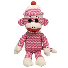 Ty Beanie Babies Large Pink Socks the Sock Monkey