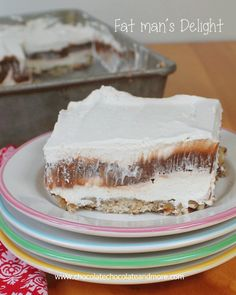luscious layers of cheesecake filling, chocolate pudding and cool whip all on top of a pecan crust