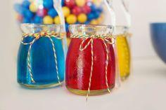 boy's Superman party treats w/decorative twine www.spaceshipsandlaserbeams.com