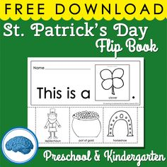 "Here is a free flip book your students can create and read on St. Patrick's Day.   ""This is a _____.""  Words: clover, leprechaun, pot of gold, horseshoe  #flipbook #literacy"