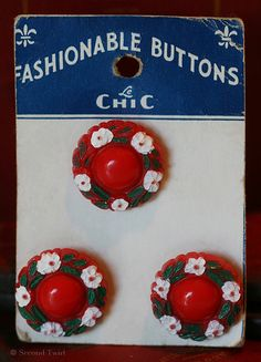 Vintage Red Flower Buttons