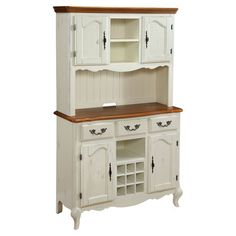Showcasing cabriole legs and a weathered finish, this classic buffet and hutch set highlights your decor with French country appeal. 3 drawers and 4 doors of...